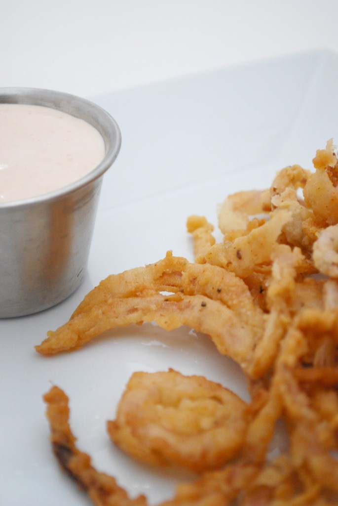 Onion Strings with Dipping Sauce Recipe | Cake and Allie