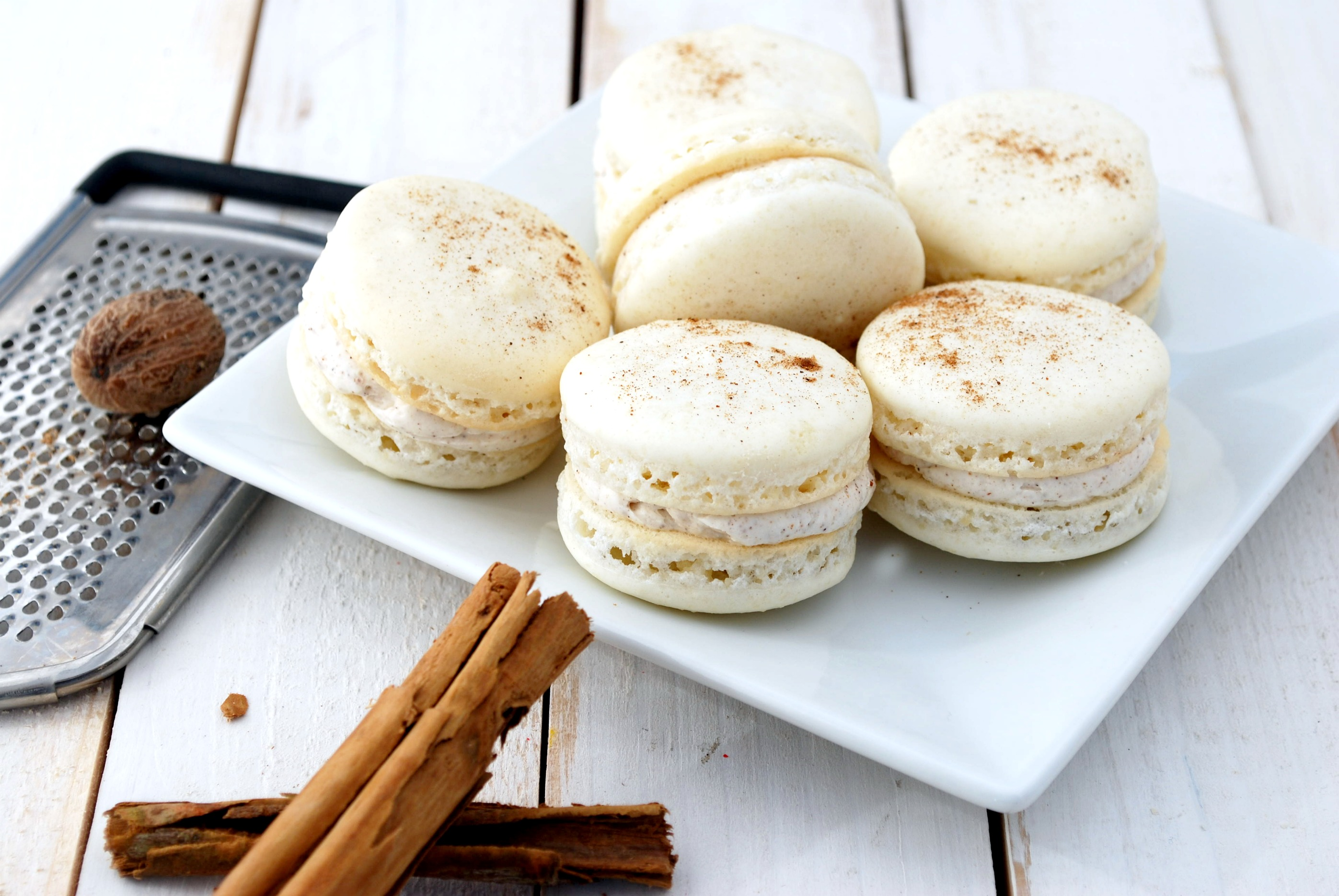 Eggnog Macarons Recipe | Cake and Allie
