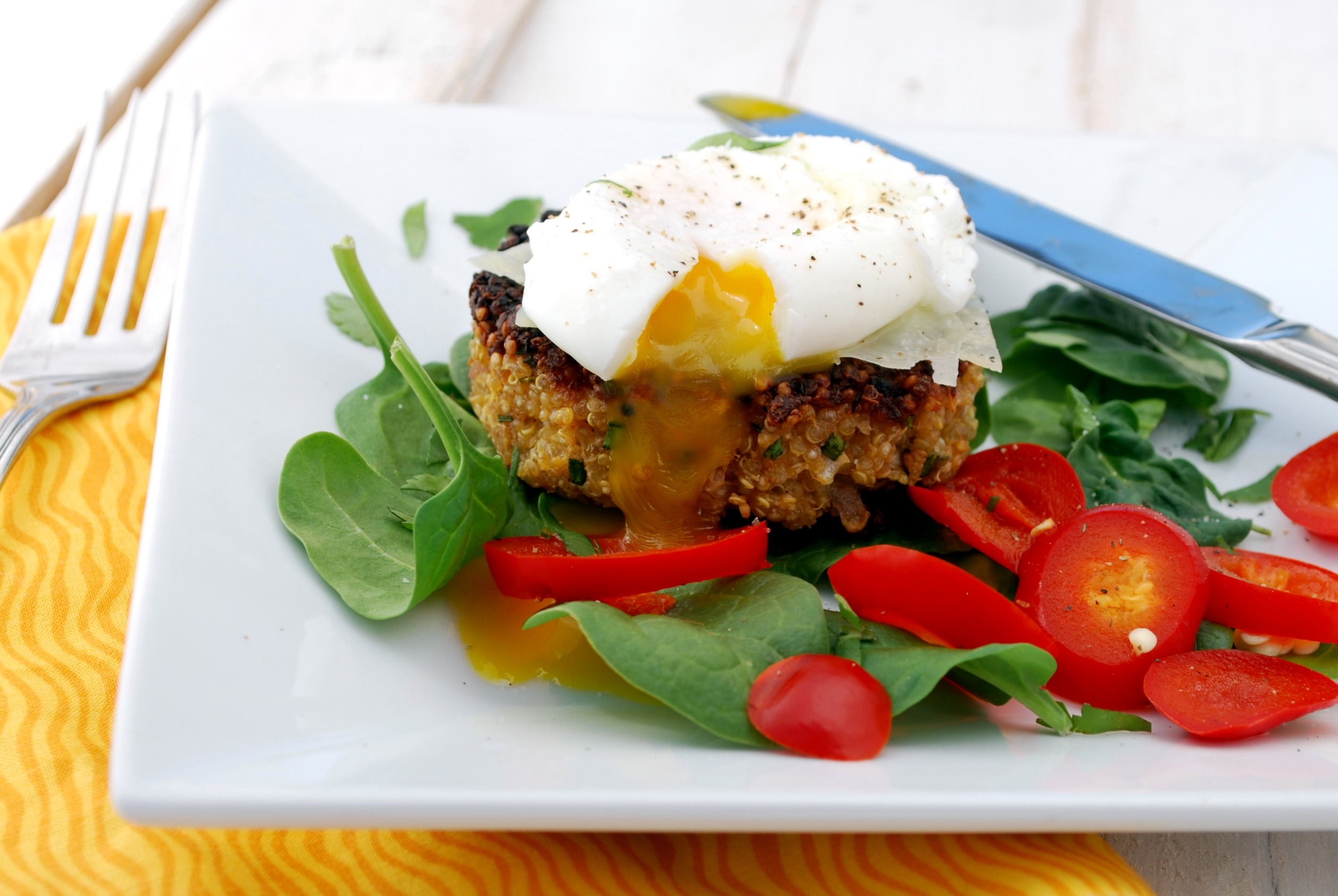 Quinoa Cakes with Poached Eggs and Spinach Recipe | Cake and Allie